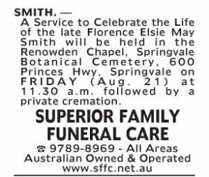 Notice-23 Funeral Service for Florence Elsie May Smith