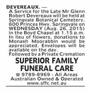 Notice-26 Funeral Service for Mr Glenn Robert Devereaux