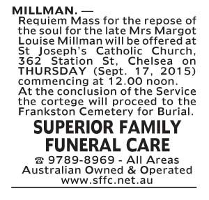 Notice-27 Funeral Service for Mrs Margot Louise Millman
