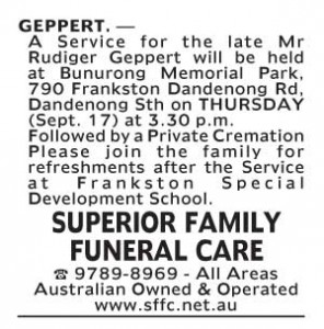 Notice-29 Funeral Service for Mr Rudiger Geppert