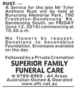 Notice-3 Funeral Service for Mr Tyler Anthony Rust