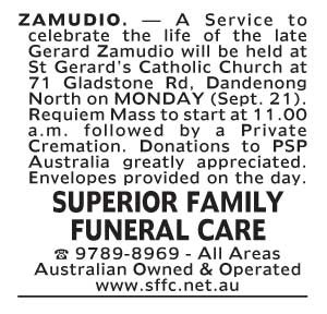 Notice-31 Funeral Service for Mr Gerard Zamudio