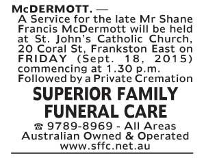 Notice-32 Funeral Service forMr Shane Frances McDermott