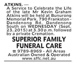 Notice-34 Funeral Service for Mr Kevin Graham Atkins