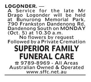 Notice-35 Funeral Service for Mr Drago Logonder