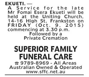 Notice-37 Funeral Service for Mr Fomai Esera Ekueti
