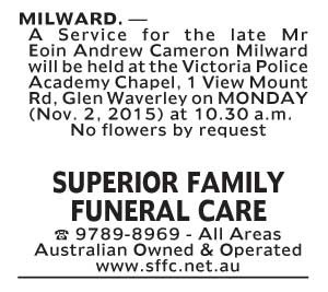 Notice-38 Funeral Service for Mr Eoin Andrew Cameron Milwards