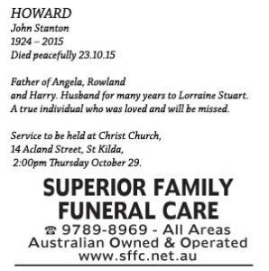 Notice-39 Funeral Service for Mr John Stanton Howard