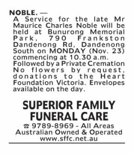 Notice-42 Funeral Service for Mr Maurice Charles Nobel