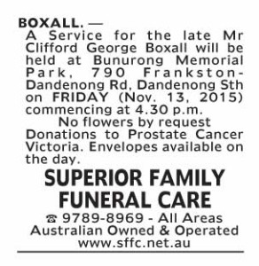 Notice-43 Funeral Service for Mr Clifford George Boxall