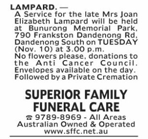 Notice-44 Funeral Service for Mrs Joan Elizabeth Lampard