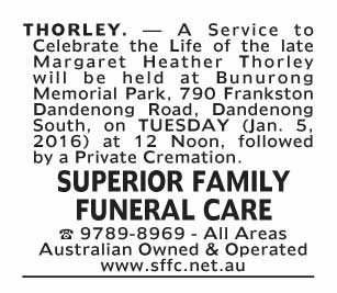 Notice-48 Funeral Service for Margaret Heather Thorley