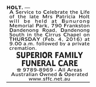Notice-51 Funeral Service for Mrs Patrica Holt