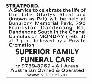 Notice--52 Funeral Service for Gladys (Pat) Stratford