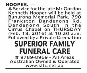 Notice--54 Funeral Service for Mr Gordon Kenneth Hooper