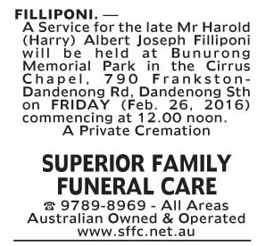 Notice--55 Funeral Service for Mr Harold (Harry) Albert Joseph Filliponi