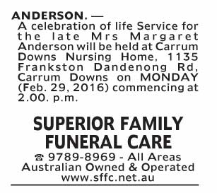 Notice--56 Funeral Service for Mrs Margaret Anderson
