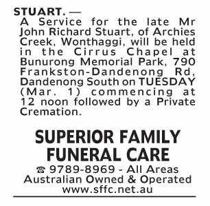 Notice--57 Funeral Service for Mr John Richard Stuart