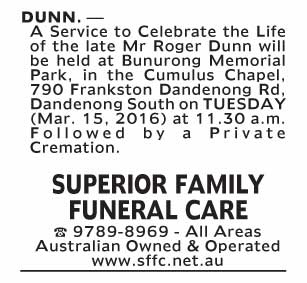 Notice--58 Funeral Service for Mr Roger Dunn