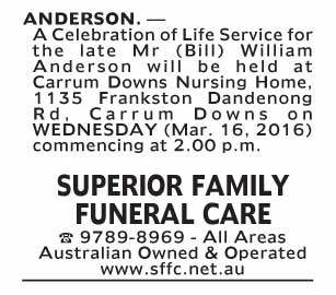 Notice--59 Funeral Service for Mr (Bill) William Anderson