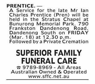 Notice-61 Funeral Service for Mr Ian Charles Prentice (Pren)