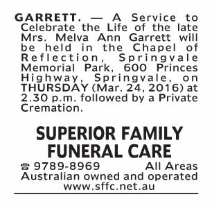 Notice-62 Funeral Service for Mrs. Melva Ann Garrett