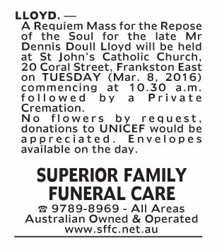 Notice-63 Funeral Service for Mr Dennis Doull Lloyd