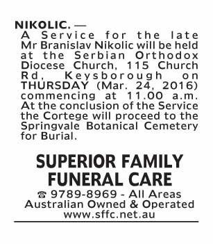 Notice-66 Funeral Service for Mr Branislav Nikolic