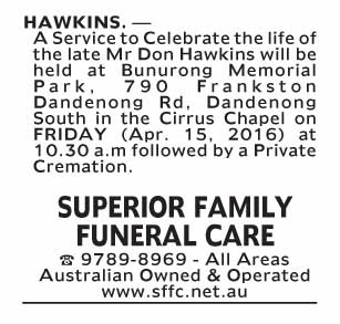 Notice-67 Funeral Service for Mr Don Hawkins