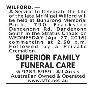 Notice-69 Funeral Service for Mr Nigel Wilford