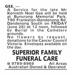 Notice-7 Funeral Service for Mr Kenneth Noel Gee
