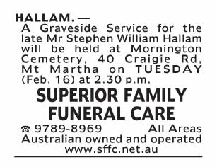 Notice-71 Funeral Service for Mr Stephen William Hallam