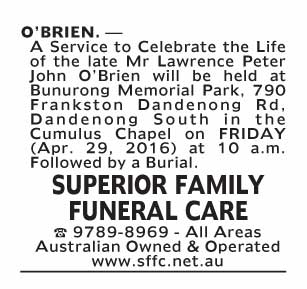 Notice-75 Funeral Service for Mr Lawrence Peter John O'Brien