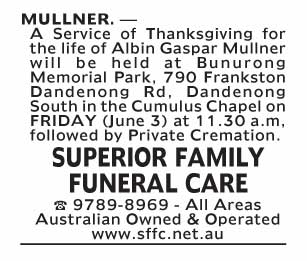 Notice-78 Funeral Service for Albin Gaspar Mullner