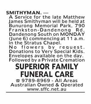 Notice-79 Funeral Service for Matthew James Smithyman