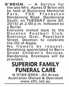 Notice-8 Funeral Service for Mrs Agnes O'Brien