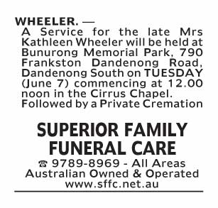 Notice-80 Funeral Service for Mrs Kathleen Wheeler