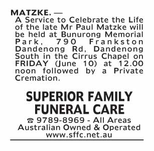 Notice-82 Funeral Service for Mr Paul Matzke