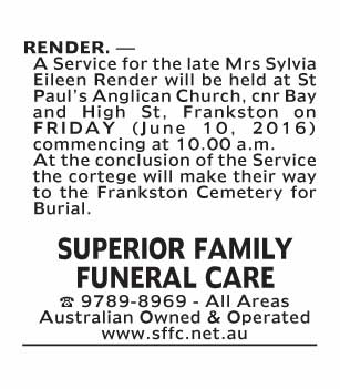 Notice-83 Funeral Service for Mrs Sylvia Eileen Render