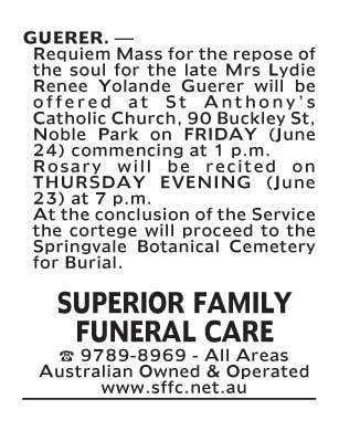 Notice-84 Funeral Service for Mrs Lydie Renee Yolande Guerer