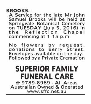 Notice-87 Funeral Service for Mr John Samuel Brooks