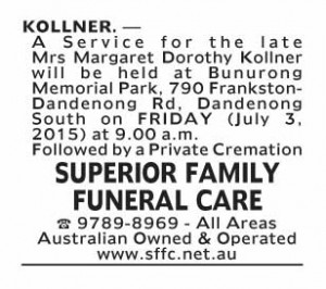 Notice-9 Funeral Service for Mrs Margaret Dorothy Kollner
