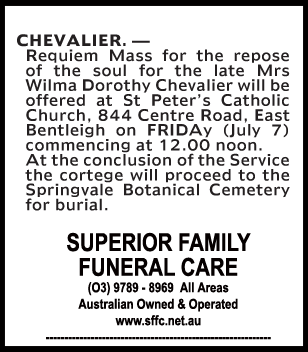 Mrs Wilma Dorothy Chevalier Funeral Notice