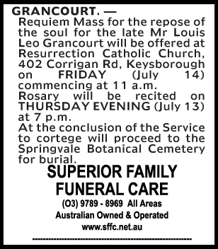 Mr Louis Leo Grandcourt Funeral Notice