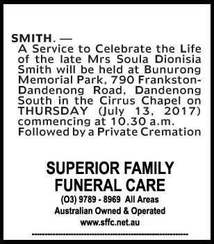 Mrs Soula Dionisia Smith Funeral Notice