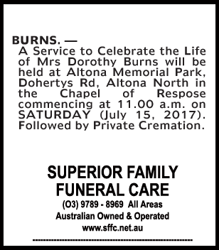 Mrs Dorothy Burns Funeral Notice