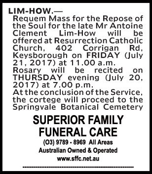 Mr Antoine Clement Lim-How Funeral Notice