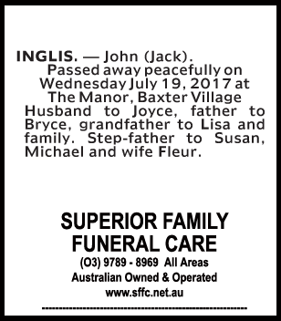 John (Jack) Inglis Funeral Notice