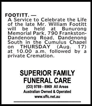 Mr William Footitt Funeral Notice