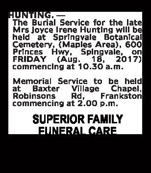 Mrs Joyce Irene Hunting Funeral Notice